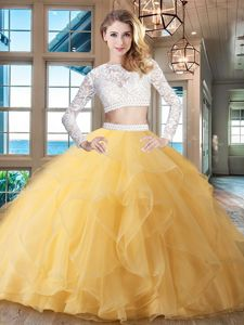 Hot Selling Scoop Long Sleeves Quinceanera Dresses Brush Train Beading and Lace and Ruffles Gold Organza