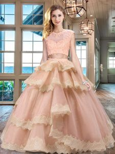 New Style Peach Two Pieces Tulle Scoop Cap Sleeves Beading and Lace and Appliques and Ruffled Layers Floor Length Zipper 15 Quinceanera Dress