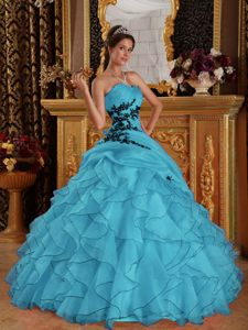 Affordable Ruffled Appliqued Teal Organza Quinceanera Gown on Promotion