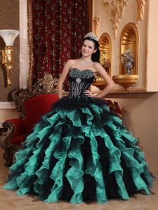 Amazing Beaded Ruffled Organza Quinceanera Gown Dresses in Teal and Black