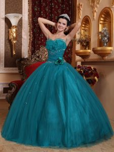 Flounced Beaded Strapless Dark Green Tulle Quinceanera Dresses with Flowers