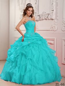 Beaded and Ruffled Aqua Blue Strapless Dress for Quinceanera in Organza
