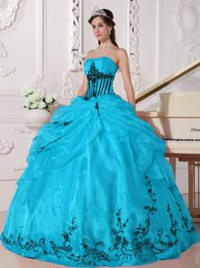 Aqua and Black Strapless Appliqued Quinceanera Dresses Made in Organza