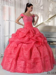 Special Off The Shoulder Beaded Organza Quinceanera Dress with Pick Ups
