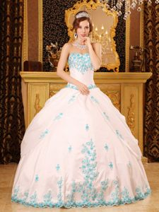 Exclusive White Taffeta Floor-length Sweet 15 Dresses with Blue Appliques