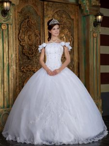 Fabulous Off-the-shoulder White Appliqued Sweet 15 Dress in Organza Satin