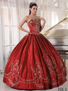 Wine Red Strapless Embroidery Satin Must-have Quinceanera Gown Dresses