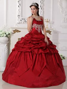 Scoop Neck Beading Pick Ups Wine Red Taffeta Fashion Quinceanera Dresses