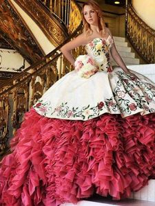 White and Red Ball Gowns Sweetheart Sleeveless Organza and Taffeta With Brush Train Lace Up Embroidery and Ruffles Vestidos de Quinceanera