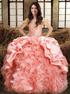 Pink 15th Birthday Dress Military Ball and Sweet 16 and Quinceanera and For with Beading and Ruffles and Pick Ups Off The Shoulder Sleeveless Lace Up
