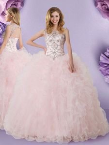 Popular Scoop Lace 15th Birthday Dress Baby Pink Lace Up Sleeveless Floor Length
