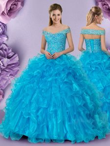 Stylish Off the Shoulder Baby Blue Sleeveless Organza Lace Up Quince Ball Gowns for Military Ball and Sweet 16 and Quinceanera