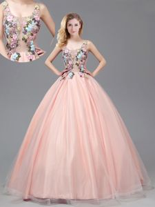 Straps Straps See Through Sleeveless Tulle Floor Length Criss Cross Quince Ball Gowns in Baby Pink for with Appliques