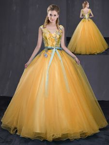 Ideal Tulle V-neck Sleeveless Lace Up Appliques and Belt Vestidos de Quinceanera in Gold