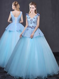 Vintage Peach Quinceanera Dress Military Ball and Sweet 16 and Quinceanera and For with Appliques and Belt V-neck Sleeveless Lace Up