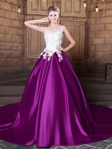 Pretty Eggplant Purple Ball Gowns Elastic Woven Satin Scoop Sleeveless Lace and Appliques With Train Lace Up Sweet 16 Dresses Court Train