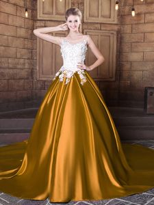 Trendy Scoop Sleeveless Elastic Woven Satin Floor Length Court Train Lace Up Quince Ball Gowns in Gold for with Lace and Appliques