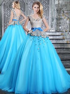 Captivating Baby Blue Lace Up Sweet 16 Dress Appliques and Belt Sleeveless Brush Train