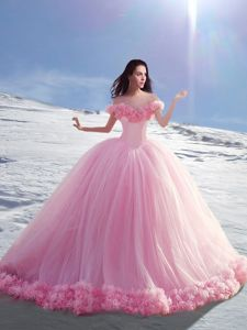 Off the Shoulder Rose Pink Tulle Lace Up Sweet 16 Dress Cap Sleeves Court Train Hand Made Flower