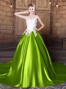 Best Selling Scoop Yellow Green Elastic Woven Satin Lace Up Sweet 16 Dresses Sleeveless With Train Court Train Lace and Appliques