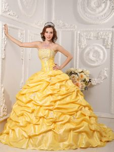 Fabulous Court Train Taffeta Yellow Dress for Quinceanera with Pick-ups