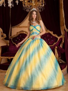 New Ombre Yellow Blue Gradient Organza Sweet Sixteen Dress with Paillette