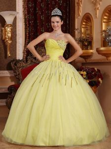 Clearance Lace-up Yellow Ball Gown Dress for Quince in Tulle and Taffeta