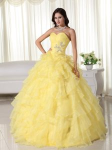 Memorable Sweetheart Yellow Organza Sweet Sixteen Dresses with Ruffles