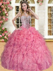 Beauteous Organza Sleeveless Floor Length Vestidos de Quinceanera and Beading and Ruffles