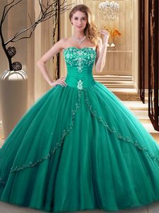 Flare Dark Green Sleeveless Tulle Lace Up 15 Quinceanera Dress for Military Ball and Sweet 16 and Quinceanera