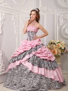 Plus Size Pink Taffeta Ball Gown Sweet 16 Dresses with Zebra Print Online