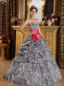 Best Seller Zebra Print Ball Gown White and Black Quince Dress in Taffeta