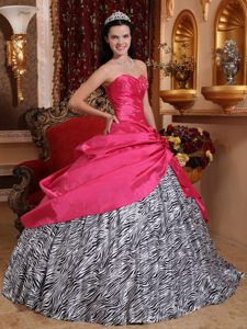 Gorgeous Hot Pink Taffeta Quinceanera Gown Dresses with Zebra Print