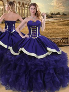Shining Purple Ball Gowns Organza Sweetheart Sleeveless Beading and Ruffles Floor Length Lace Up Quinceanera Dresses