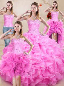 Ideal Floor Length Rose Pink Quinceanera Dress Organza Sleeveless Beading and Ruffles