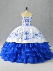 Discount Blue And White Sweetheart Neckline Embroidery and Ruffled Layers Quinceanera Gowns Sleeveless Lace Up