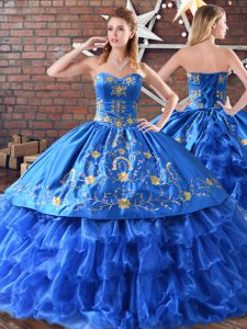 Blue Sweet 16 Dresses Sweet 16 and Quinceanera with Embroidery Sleeveless