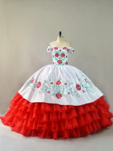 White And Red Lace Up Quinceanera Gown Embroidery and Ruffled Layers Sleeveless Court Train