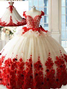 White And Red Zipper Sweet 16 Quinceanera Dress Hand Made Flower Sleeveless Brush Train