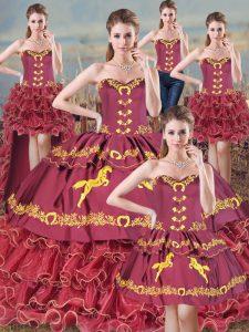 Popular Burgundy Sweet 16 Dresses Sweetheart Sleeveless Sweep Train Lace Up