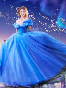 Dramatic Cinderella Off the Shoulder Floor Length Ball Gowns Sleeveless Royal Blue Quinceanera Dress Lace Up