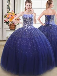 Sweet Sleeveless Beading Lace Up Quinceanera Gowns
