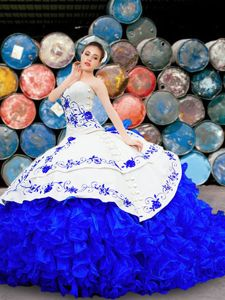 Ideal Sleeveless With Train Embroidery and Ruffles Lace Up Ball Gown Prom Dress with White and Blue Brush Train