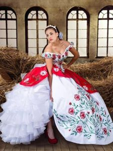 Beauteous Ruffled Floor Length White and Red Sweet 16 Dress Off The Shoulder Cap Sleeves Lace Up